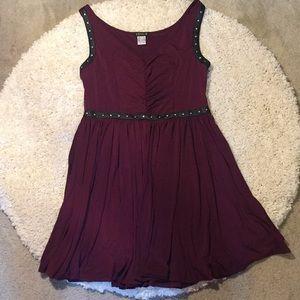 Venus burgundy wine and black silver stud dress